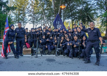Kota Kinabalu,Sabah-Aug 31,2016:Happy of Royal Malaysian Police PDRM during participate in National Day parade,celebrating the 59th anniversary of independence on 31st Aug 2016 at Kota Kinabalu,Sabah.