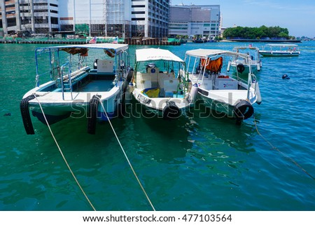 Kota Kinabalu,Sabah-Aug 30,2016:Various of boats at Jetty Jesselton Point,Kota Kinabalu,Sabah.Its provided the cheapest boat terminal for the Tunku Abdul Rahman Marine Park & Gayana Island for visitor
