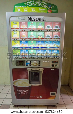 Kota Kinabalu Sabah - DEC 17, 2016 : Vending machine selling canned and bottled drinks at shopingmall in Kota Kinabalu Sabah. Vending Machine is popular at tourist attraction place in the city.