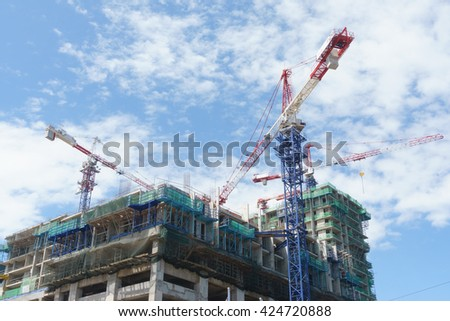 Kota Kinabalu Sabah Malaysia - Feb 4, 2016 : Building for hotel and parking space under construction at Kota Kinabalu city.Kota Kinabalu is a capital city of Sabah state Malaysia in North Borneo.