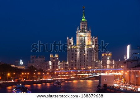 Kotelnicheskaya Embankment Building at night, Moscow, Russia-- is one of seven stalinist skyscrapers laid down in September, 1947 and completed in 1952.