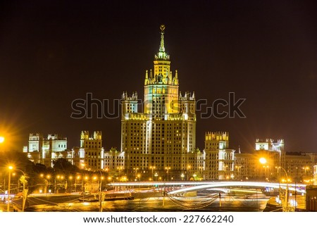 Kotelnicheskaya Embankment Building in Moscow at night