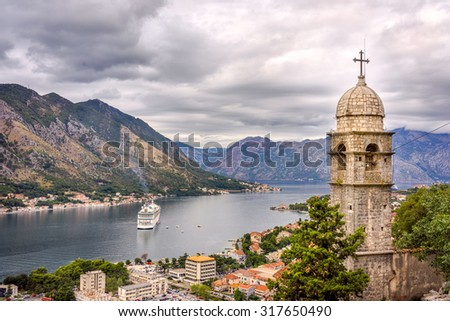 Kotor bay and Old Town from Lovcen Mountain in Kotor, Montenegro. - stock photo