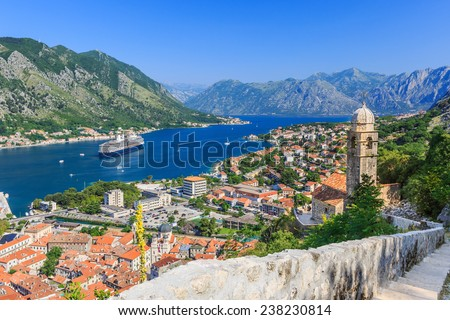 Kotor bay and Old Town from Lovcen Mountain. Montenegro. - stock photo