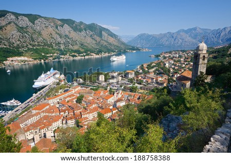 Kotor Bay and Old Town view, Montenegro - stock photo