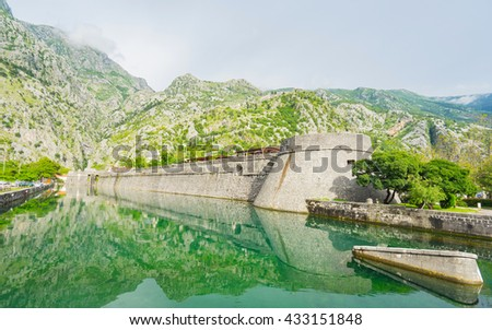 Kotor City Wall Fortifications, Montenegro (UNESCO world heritage site) - stock photo