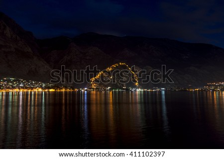 Kotor fortress at night