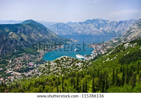 Kotor in Montenegro - view from mountains