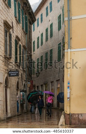 KOTOR, MONTENEGRO, - OCTOBER 10, 2015:   Peaple are walking in the old town.