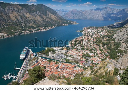 KOTOR, MONTENEGRO - SEPTEMBER 8, 2015: Bay of Kotor (Gulf of Kotor, Boka Kotorska) and walled old city - general view from St. John's Fortress.