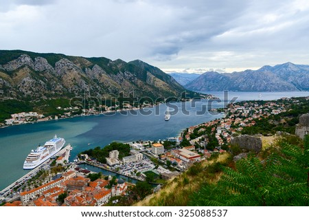 KOTOR, MONTENEGRO - SEPTEMBER 21, 2015: Beautiful view from above of the Bay of Kotor, Montenegro