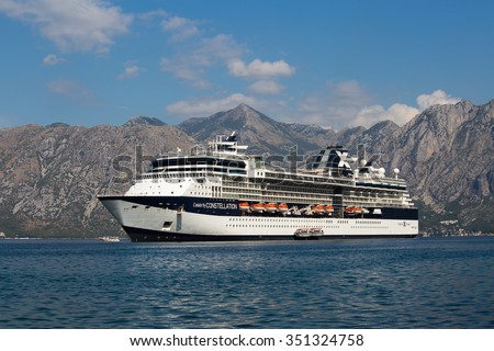 KOTOR, MONTENEGRO - SEPTEMBER 23, 2015 : Large cruise ship Celebrity Constellation in Boka Kotorsky Bay. Kotor has one of the best preserved medieval old towns in the Adriatic