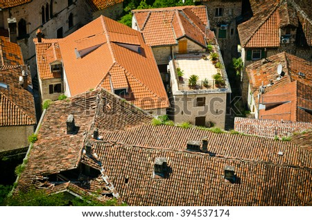 Kotor rooftops of the old town. Old town of Kotor and Boka Kotorska bay in Montenegro  - stock photo