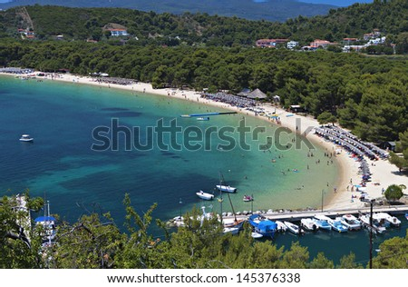 Koukounaries beach at Skiathos island in Greece - stock photo