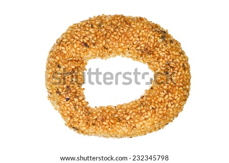 koulouri, traditional greek type of bread with sesame seeds