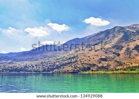 Kournas lake on Crete, Greece - stock photo