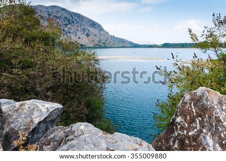 Kournas lake on Crete. Greece - stock photo