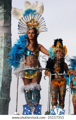 KOUROU, FRENCH GUIANA - FEBRUARY 15: these Brazilian dancers participate in the main carnival parade February 15, 2009 in Kourou, French Guiana.