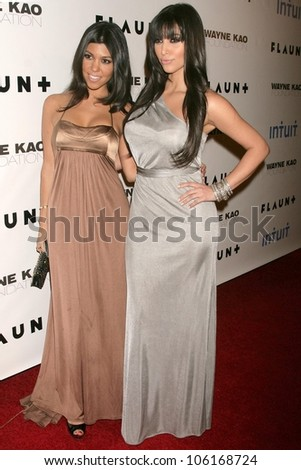 Kourtney Kardashian and Kimberly Kardashian   at Flaunt Magazine's 10th Anniversary Party And Holiday Toy Drive. Wayne Kao Mansion, Homby Hills, CA. 12-18-08