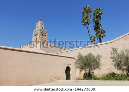 Koutoubia mosque against clear blue sky, Marrakesh. - stock photo