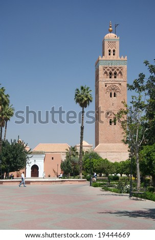 Koutoubia Mosque in Marrakesh with palms, Morocco