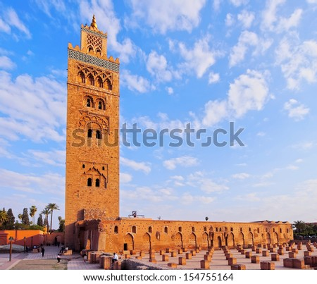 Koutoubia Mosque - the biggest mosque in Marrakech, Morocco, Africa - stock photo