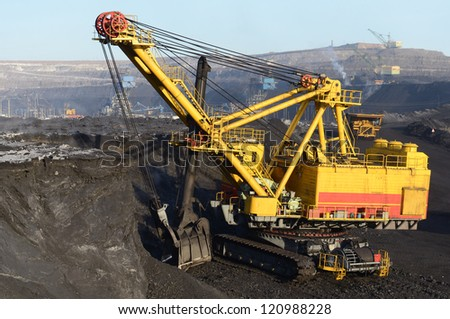 Kovshovy excavator, coal loading - stock photo