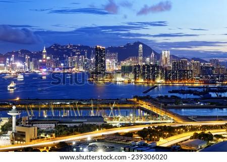Kowloon at night, hongkong downtown area - stock photo