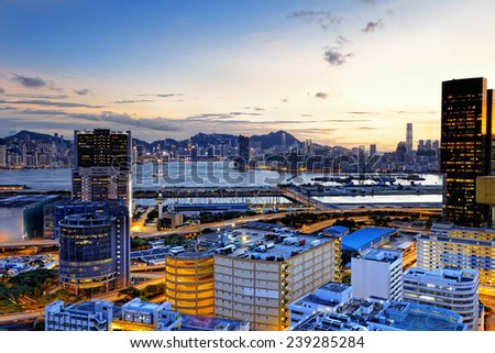 Kowloon at sunset, hongkong downtown area - stock photo