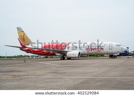 KOZHIKODE, INDIA 31-  July, 2015. Air India Airbus aircraft in Kozhikode Airport as it is starting its engines for flight to Dubai.  - stock photo