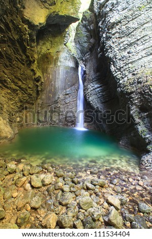 Kozjak waterfall (Slap Kozjak) - Kobarid,  Julian Alps in Slovenia - stock photo