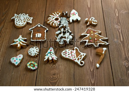 kozuli - Russian Christmas gingerbread over wooden background close up.traditional pagan rite Pomeranian