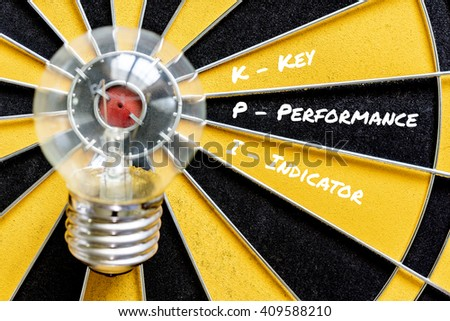 KPI acronym of key performance indicator with idea bulb lamp target on dartboard background,  Top view, Business concept, - stock photo
