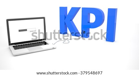 KPI - Key Performance Indicator - laptop notebook computer connected to a word on white background. 3d render illustration.