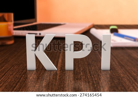 KPI - Key Performance Indicator - letters on wooden desk with laptop computer and a notebook. 3d render illustration. - stock photo