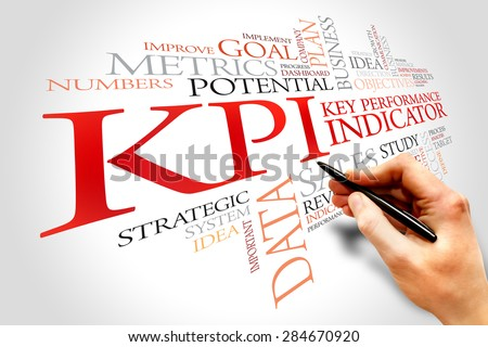 KPI - Key Performance Indicator word cloud, business concept - stock photo