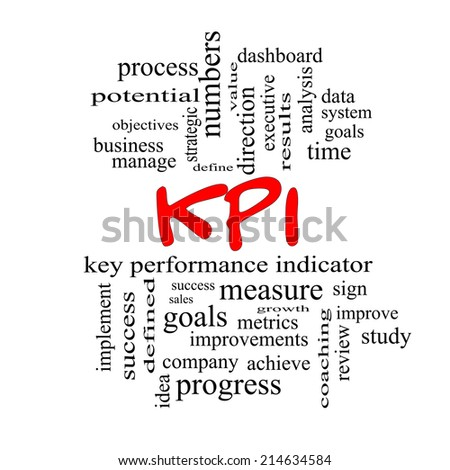 KPI Word Cloud Concept in red caps with great terms such as key, performance, indicators and more. - stock photo