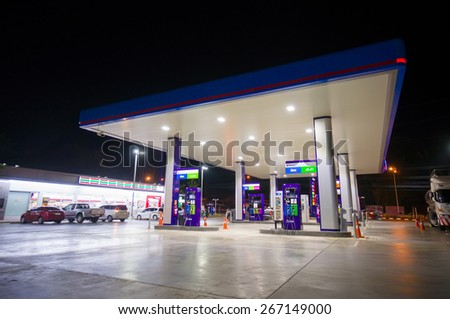 Krabi, 23 february 2015: PTT gas station in Krabi Muang district, Krabi province, Thailand. PTT is largest oil company in Thailand - stock photo