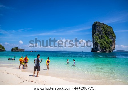 Krabi, Thailand - June 12th 2016 - Tourists enjoying a summer day in Krabi area in Thailand, Asia.