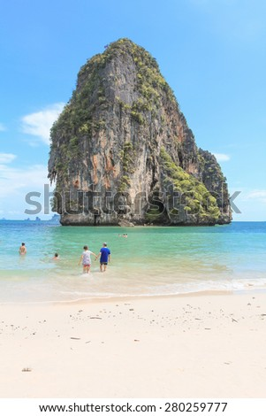 Krabi Thailand, 12 May : The Tourist is playing and relax on the sea at Railay Beach May 12, 2015 in Krabi Thailand.