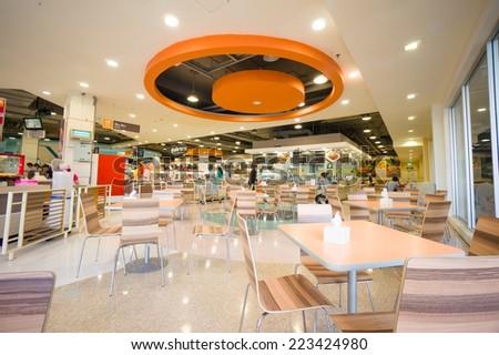 Krabi Town, 17 March 2014: Food court of Tesco Lotus mall in evening at Krabi Town, Krabi province, Thailand. - stock photo