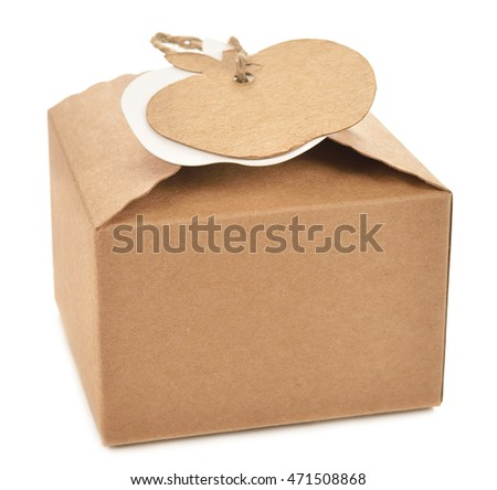 Kraft box with tag isolated on white background