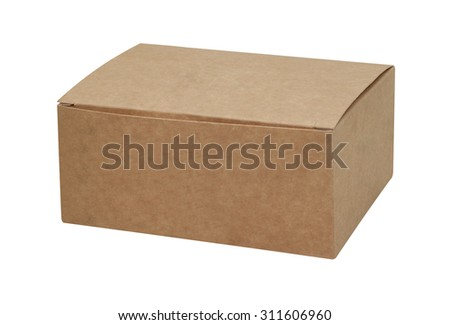 Kraft cardboard box isolated on white background  - stock photo