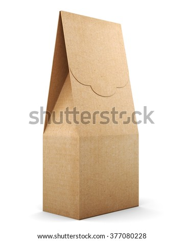 Kraft package on a white background. 3d illustration. - stock photo