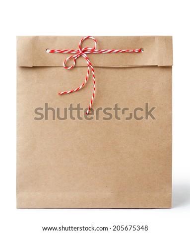 kraft paper bag - stock photo