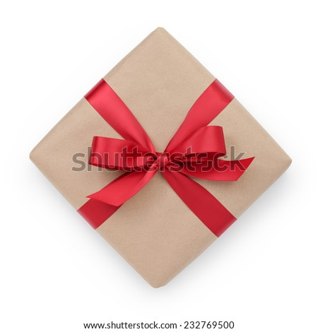 kraft paper gift box with ribbon bow from above, white background - stock photo