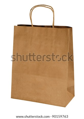 kraft shopping paper bag isolated on white
