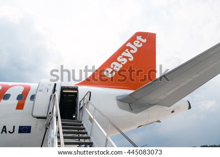 Krakow Balice, POLAND - June 2: EasyJet plane at the airport, Krakow Balice, POLAND - June 2, 2015