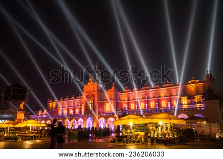 Krakow market square - a light show over Sukiennice buliding