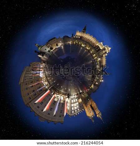 Krakow old town main market square at night, 360 degree miniplanet (Elements of this image furnished by NASA) - stock photo
